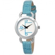 Lava Creation Stylish Sky Blue Strap With Round Dial Girls Wrist Watch For Women ( titan leather women-blue )