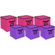 Billion Designer Non Woven 6 Pieces Small & Large Foldable Storage Organiser Cubes/Boxes (Pink & Purple) - CTKTC35373 CTLTC035373(Pink & Purple)