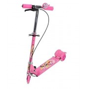 Sajani 3-Wheel Height Adjustable Folding Kick Kids Scooty Scooter Toy with Shockers and Light in Wheels (Pink)