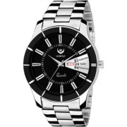 Lorenz 1074A Stainless Steel Day Date Edition Black Dial Men's Analog Watch