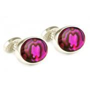 Mousie Bean Crystal Cufflinks Oval Semi Precious 005 Abalone Red