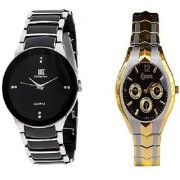 IIK Collection Black and Rosra Silver-Gold Women Watches Couple for Men and Women