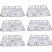 Taluka (13 x 10.7x1 inches) Pure Stainless Steel 5 in 1 Compartment Plate Thali Bhojan Thali Steel Plate Food Dinner Snacks Plate OF 6