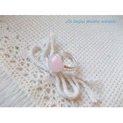 Inel reglabil din argint cu cuarţ roz rotund 10 mm
