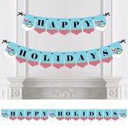 Big Dot of Happiness Holly Jolly Penguin - Holiday & Christmas Bunting Banner Winter Party Decorations Happy Holidays