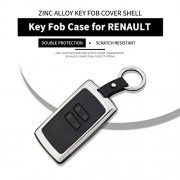 Zinc Alloy Remote Smart Key Fob Case for Renault, Key Fob Cover shell with Key Chain for Renault 4 buttons, Universal Car key protector cover for Renault, Car Keyless Entry accessories Silver