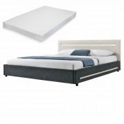 [my.bed] Elegantná manželská posteľ s LED osvetlením - matrac zo studenej HR peny - 140x200cm (Záhlavie: alcantara koženka sivobiela / Rám: textil čierna) - s roštom