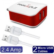 Pinnaclz Combo of Dual USB 2.4 Amp Wall Charger (White-Red) + 2 pcs 3 Feet Sync Charge Micro USB Data Cable 2.4 Amp