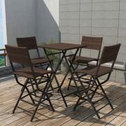 vidaXL Set mobilier exterior pliabil, 5 piese, maro, oțel, poliratan