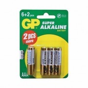baterie GP SUPER AAA 1.5V Alkalické 6 plus 2 ks B13118