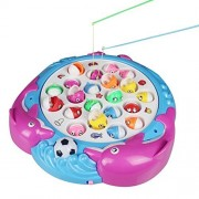 Fajiabao Funny Magnetic Fishing Game 4 Fishing Poles 21 Fishes Electronic Toys Set with Music and Bright Light for Early Educational Kids