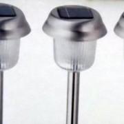 Set 3 lampi cu LED cu incarcare solara inox Napel