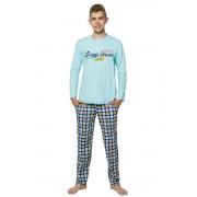 Marián fiú pizsama felirattal, kék 146