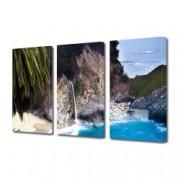 Tablou Canvas Premium Peisaj Multicolor Plaja pe coasta Californiei Decoratiuni Moderne pentru Casa 3 x 70 x 100 cm