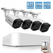 Sistem supraveghere Plug and Play, 4 camere 4MP 2592*1520+ NVR PoE , iOS/ Android, Night Vision 30m, compresie Ultra H265, IP67