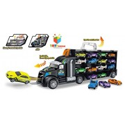 Toys Bhoomi Pull Along Long Haul Transport Truck With 12 Die-Cast Vehicles