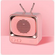 Mini Portable Retro Style TV Shape Bluetooth 5.0 Speaker Support TF Card - Pink