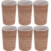 Geen 6x Melamine drinkbekers/mokken houtprint 11 cm