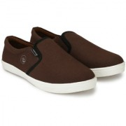 Evolite Brown Slip on Sneakers Stylish Loafer Canvas Shoes for Men & Boys