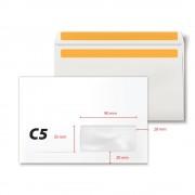 Plic C5, 162 x 229 mm, fereastra dreapta 35 x 90 mm, alb, autoadeziv, 80 g/mp, 500 bucati/cutie