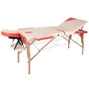 Masa din lemn pentru masaj inSPORTline Japane - din 3 bucati alb-oranj