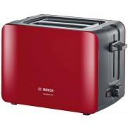 Prajitor de paine Bosch ComfortLine TAT6A114, 2 felii, 1090 W, gratar chifle (Rosu/Negru)
