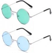 Elligator Round Sunglasses(Green, Blue)
