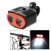 Bicicleta de la bicicleta del LED de luz blanca de 3-Mode de la lampara frontal w / Monte - Negro + Rojo