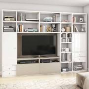 Helle TV Regalwand in Weiß Hochglanz Beige