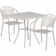 Flash Furniture 28Inch Square Metal Patio Table Set with 2 Round Back Chairs - Light Gray, Model CO28SQ03CHR2SV