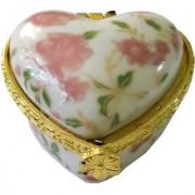 Porcelain Pink Flower Heart Shape Kumkum/Sindoor Box
