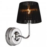 [lux.pro]® Lámpara de pared - diseño moderno negra - aplique de pared - metal, tela - diámetro pantalla 11,5 cm (arriba) - 15 cm (abajo) - para mesilla de noche