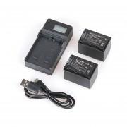 EY Batería 2PCS Para Camara Sony 2100mAh NP-FV70 + Cargador