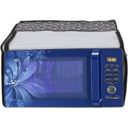 Glassiano Black Polka dot Printed Microwave Oven Cover for IFB 23 Litre Convection (23BC4 Black+Floral Design)