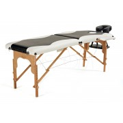 Łóżko do masażu 2 segmentowe drewniane czarno - białe