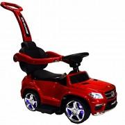 RED Licensed Mercedes Kid Ride On toy push car stroller child toddler Wagon LED lights handle
