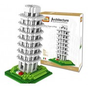 LOZ Architecture world famous Leaning tower of PISA Tuscany ITALY - 560 PCs set ; 9 year or elder kid ; Building Block Toy nano block assembly mind puzzle brain game IQ Child children kid kids boys girls thinking ability challenging tough challenge DIY Mo