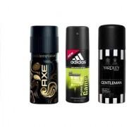 Axe Adidas and Yardley Men Body Spray(Pack of 3)