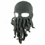 To Son's Gift Divertido Tentaculo Octopus Cthulhu Knit Beanie Sombrero Cap Mascara de Viento - Gris Oscuro