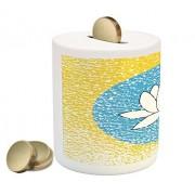 Lunarable Lotus Flower Piggy Bank, Grungy Design Russia Kalmykia Republic and Circled Lotus Flower, Printed Ceramic Coin Bank Money Box for Cash Saving, Azure Blue and Mustard