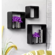 Onlineshoppee Square Nesting MDF Wall Shelf Size(LxBxH-10x4x10) Inch - Black
