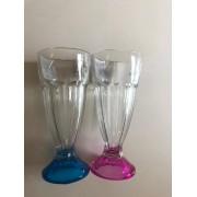Drinkglazen blauw en roze 2 stuks