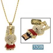Rabbit Shaped Diamond Jewelry USB Flash Disk (32GB) Red