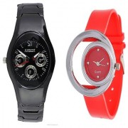 Rosra Black Men and One Side Moon Red Women Watches Couple For Men and Women