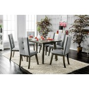 7 pc abelone collection mid century modern style gray finish wood dining table set