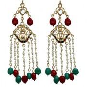Lucky Jewellery Meenakari Maroon Green Color Gold Plating Kundan Pearl Earring For Girls & Women