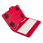 "SilverHT Funda Universal con Teclado MicroUSB Roja/Blanca para Tablets de 7"" - 8"""