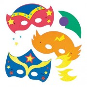 Baker Ross Superhero Foam Masks - 4 foam mask kits for children to make and wear. Size 23cm-25cm.