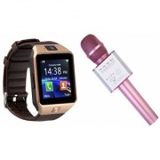 Mirza DZ09 Smart Watch and Q9 Microphone Karrokke Bluetooth Speaker for LG OPTIMUS L5(DZ09 Smart Watch With 4G Sim Card Memory Card| Q9 Microphone Karrokke Bluetooth Speaker)
