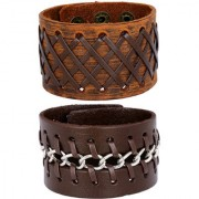 Stitched Braided Tan Brown 100 Genuine Handcrafted Funky Casual Chain Leather Wrist Band Combo Pack Of 2 Bracelet Boys Men